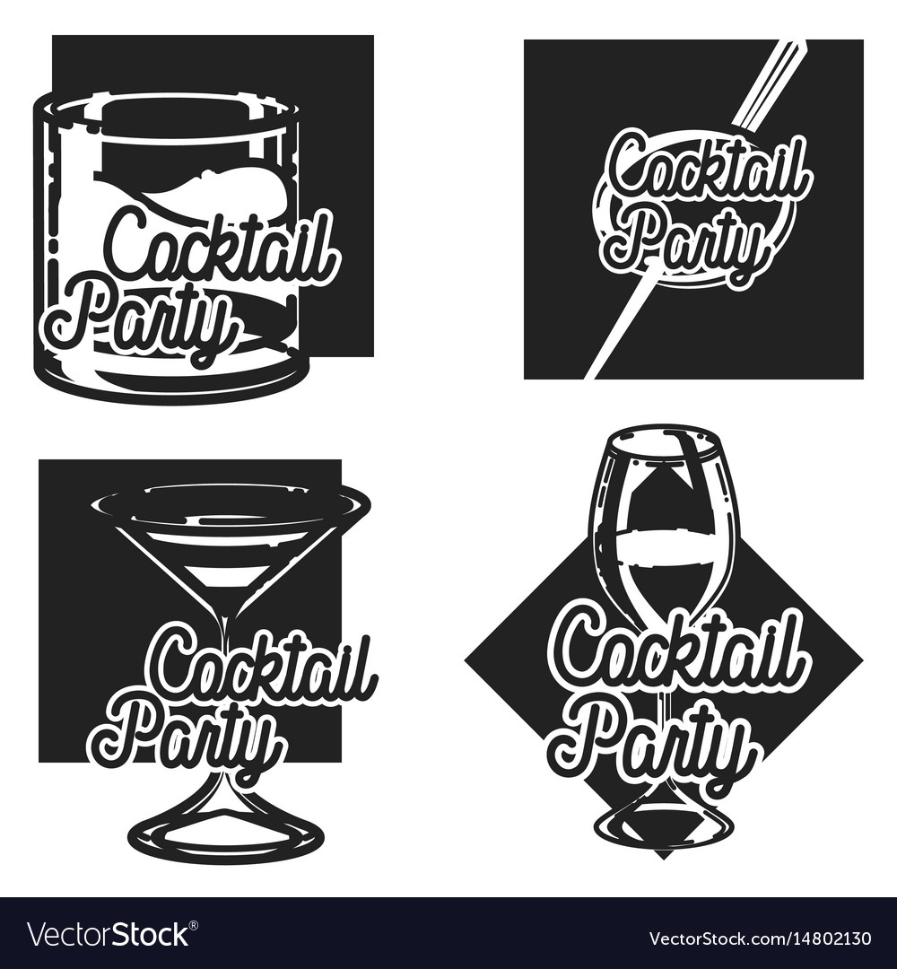 Vintage cocktail party clipart picture black and white download Vintage cocktail party emblems picture black and white download