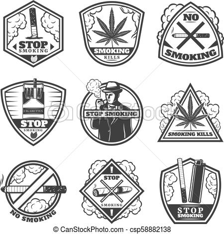 Vintage color tobacco labels clipart banner transparent Vintage Stop Smoke Labels Set banner transparent