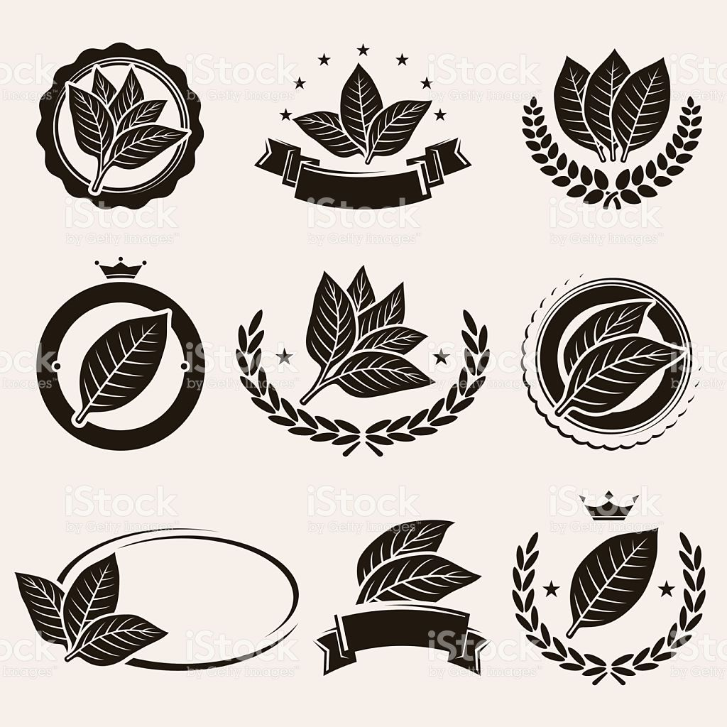 Vintage color tobacco labels clipart graphic transparent Tobacco leaf label and icons set. Vector royalty-free stock ... graphic transparent