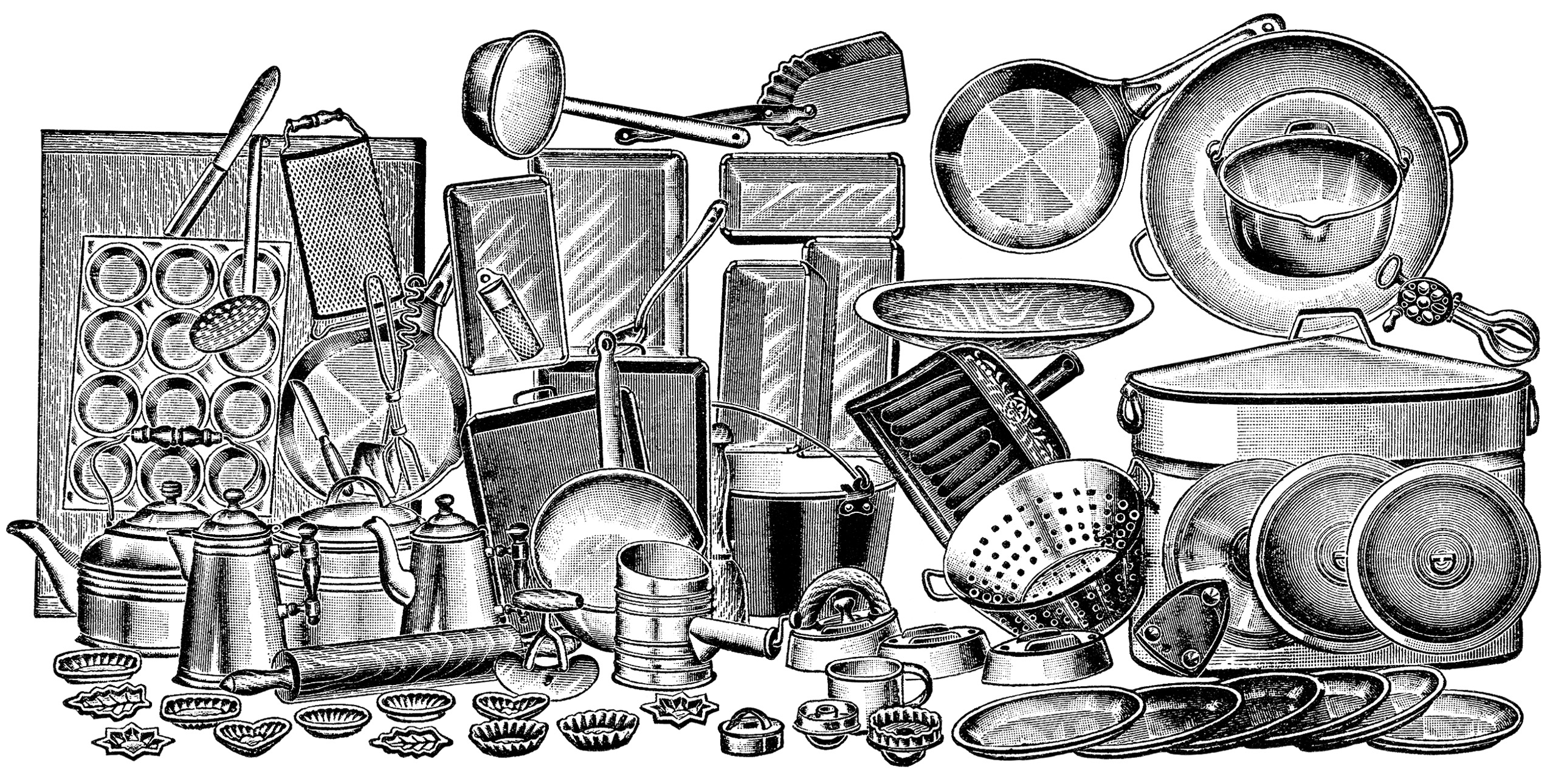 Vintage cooking clipart black and white graphic royalty free download Free Vintage Kitchen Cliparts, Download Free Clip Art, Free ... graphic royalty free download
