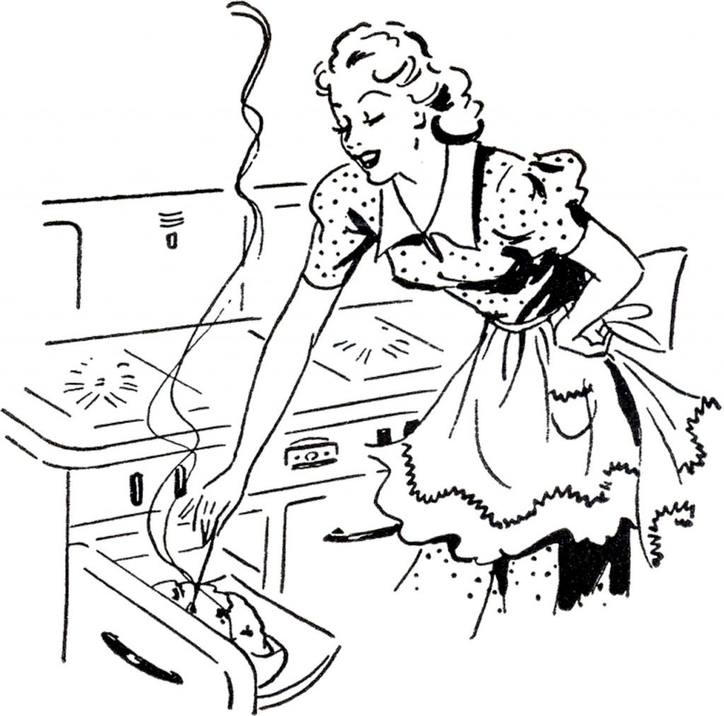 Vintage cooking clipart black and white svg freeuse stock Adorable Retro Cooking Mom Image! | point de croix 12 ... svg freeuse stock