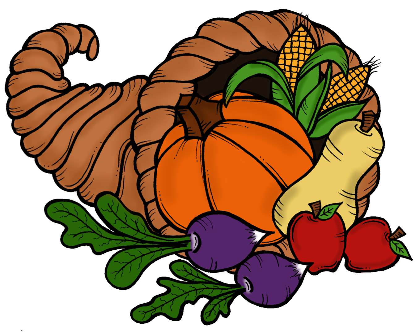Vintage cornucopia thanksgiving clipart free vector black and white library 28+ Collection of Thanksgiving Cornucopia Clipart Free | High ... vector black and white library