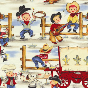 Vintage corral clipart png freeuse library Cowboy Lil Buckaroos Western Print Michael Miller Fabric ... png freeuse library