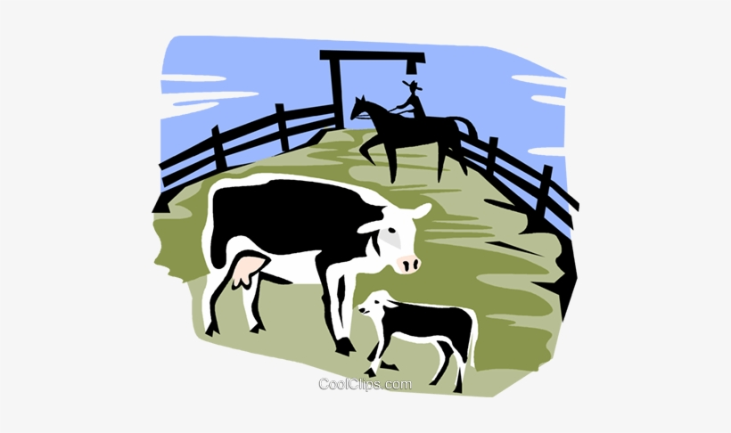 Vintage corral clipart png library Cows In A Corral Royalty Free Vector Clip Art Illustration ... png library