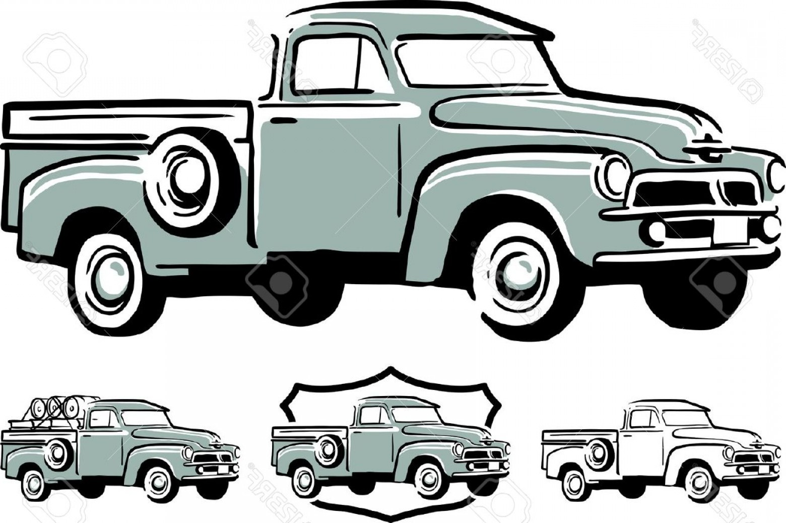 Vintage delivery truck clipart png black and white download Photoillustration Of Vintage Pick Up Truck | SOIDERGI png black and white download