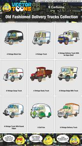 Vintage delivery truck clipart svg black and white stock Old Fashioned Delivery Trucks Collection svg black and white stock