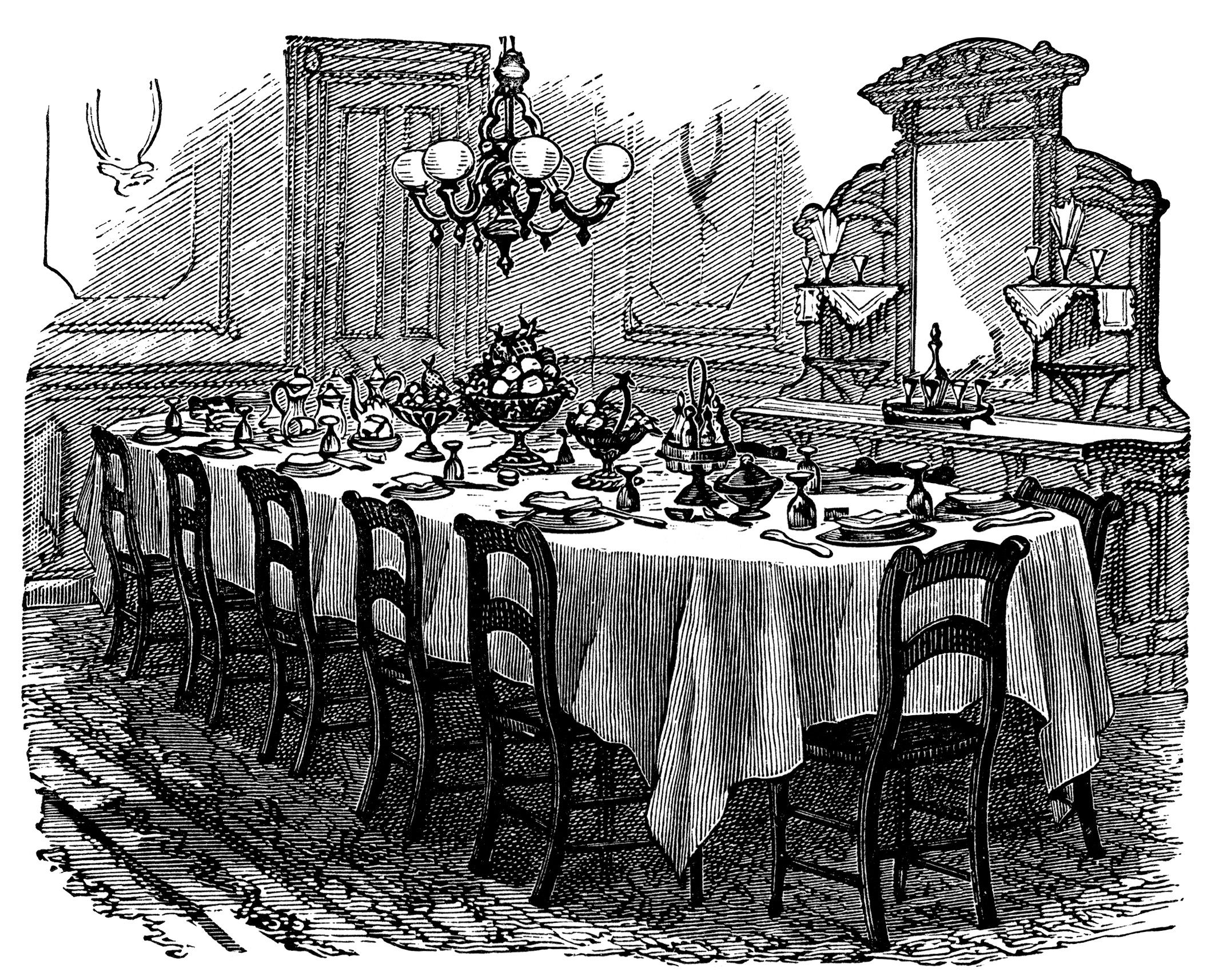 Vintage dinner clipart png free download vintage kitchen clip art, black and white graphics ... png free download