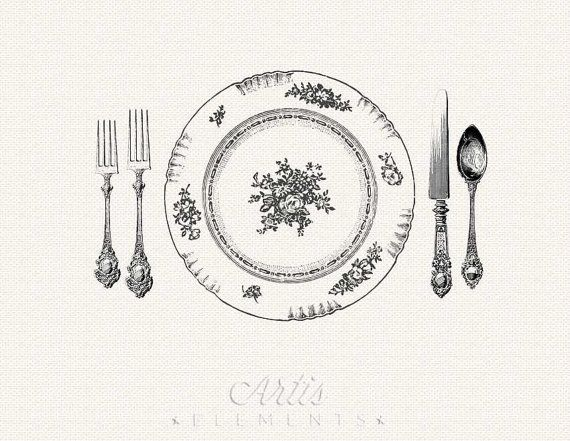 Vintage dinner clipart svg transparent Elegant Dinner Setting Printable Placemat Vintage Digital ... svg transparent
