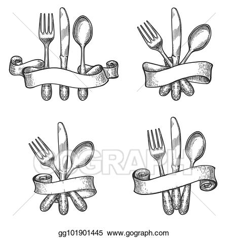 Vintage dinner clipart svg royalty free stock Vector Clipart - Vintage dinner table silverware set. Vector ... svg royalty free stock