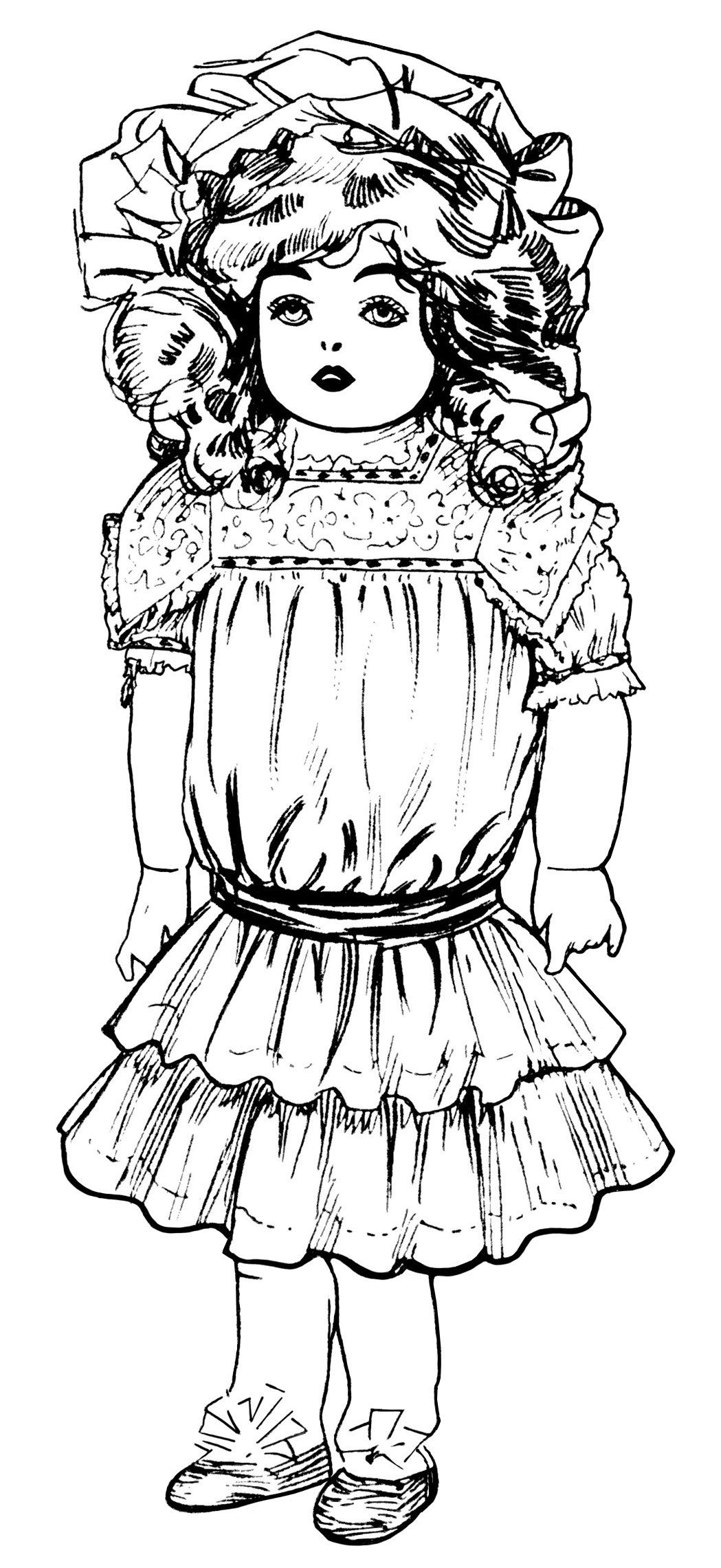 Vintage doll clipart picture library stock vintage doll clip art, Victorian toys illustration, black ... picture library stock