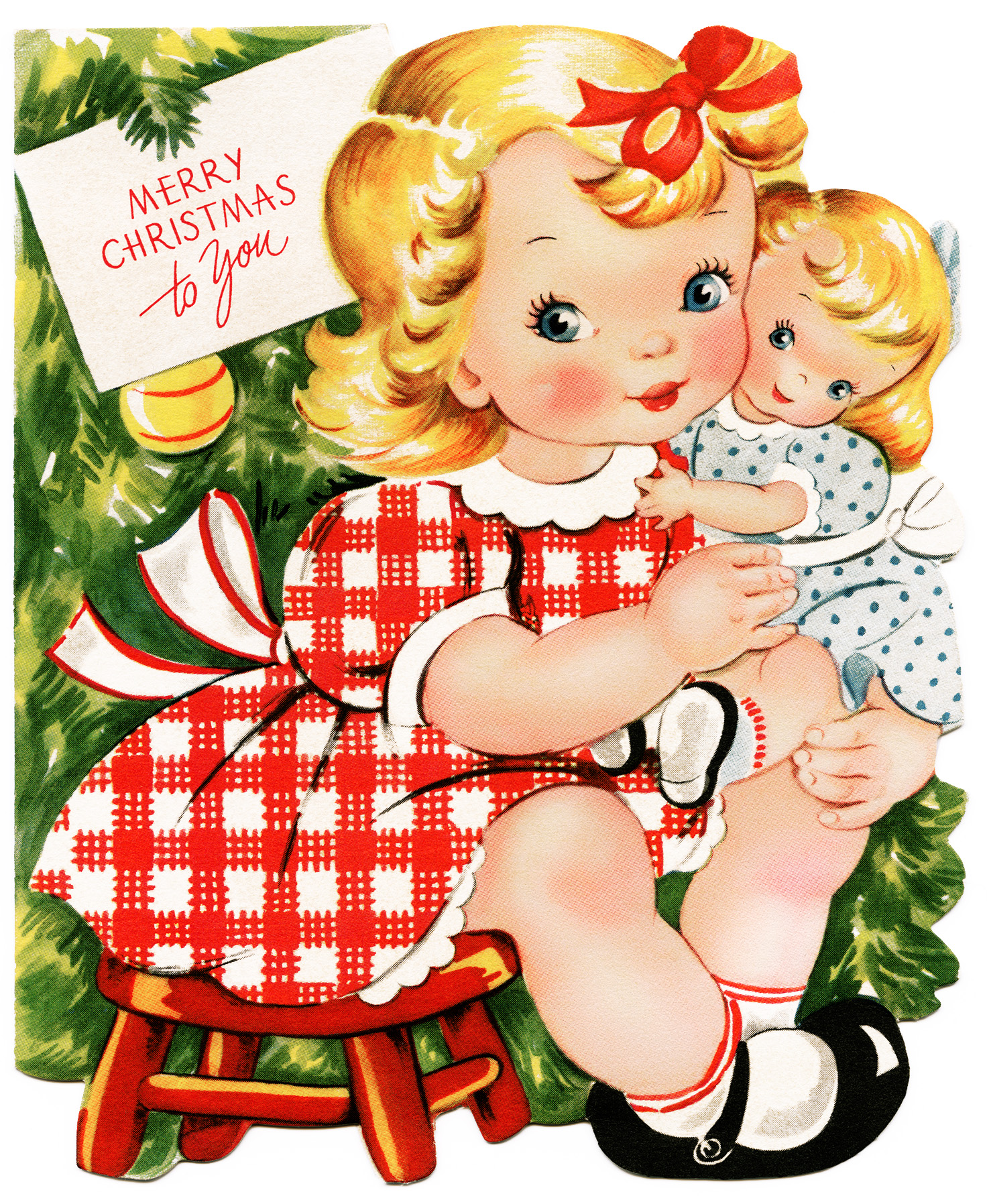 Vintage doll clipart clipart Retro Girl and Doll Christmas Card - Old Design Shop Blog clipart