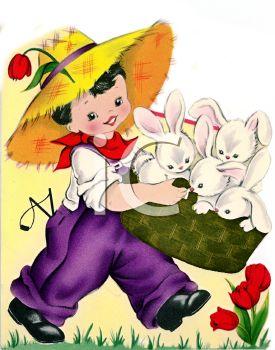 Vintage easter basket clipart vector royalty free download Vintage Boy Carrying Easter Bunnies in a Basket - Royalty Free ... vector royalty free download