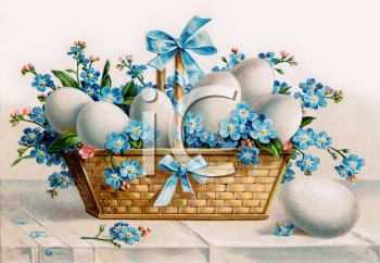 Vintage easter basket clipart clip art free download Royalty Free Clipart Image: Vintage Easter Eggs and Violets in a ... clip art free download