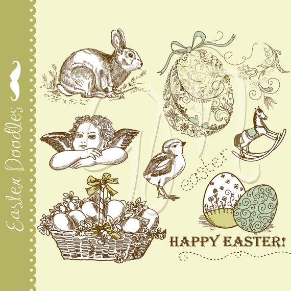 Vintage easter egg images clipart clipart library stock Easter Vintage Digital Doodles clip art Retro Easter eggs clipart library stock
