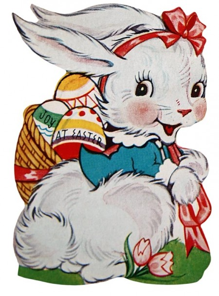 Vintage easter egg images clipart jpg transparent stock Retro Image of the Easter Bunny with a Basket of Eggs @ Vintage ... jpg transparent stock