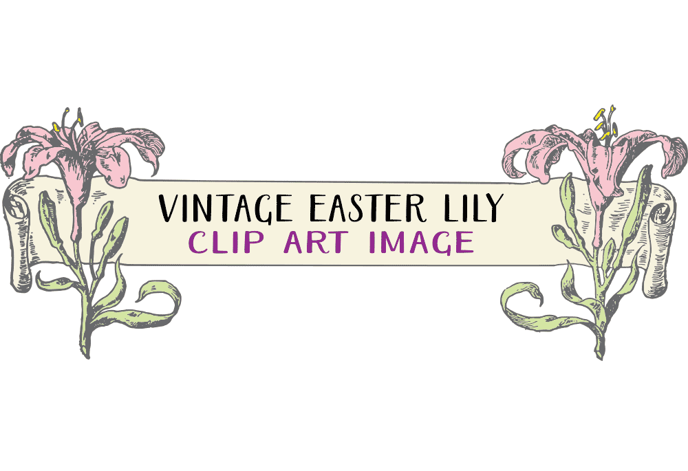 Vintage easter lily clipart image black and white Vintage Easter Lily Banner Clip Art Image   Clip Art Department image black and white