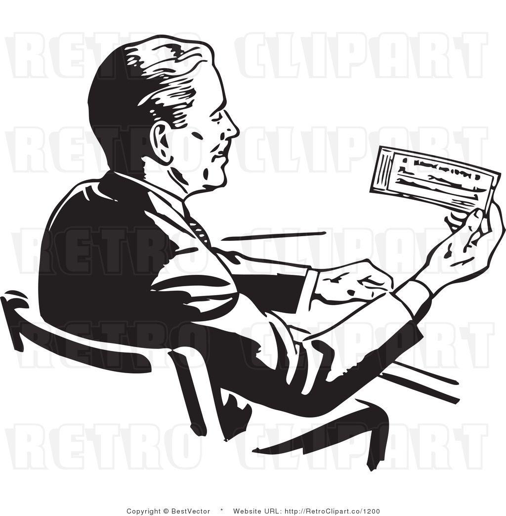 Vintage feeding hungry clipart jpg library Retro Man Reading Check | BestVector | Retro illustration ... jpg library