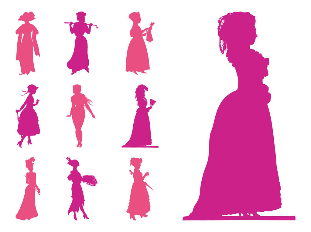 Vintage female silhouette clipart svg black and white download Free Women Silhouettes, Download Free Clip Art, Free Clip ... svg black and white download
