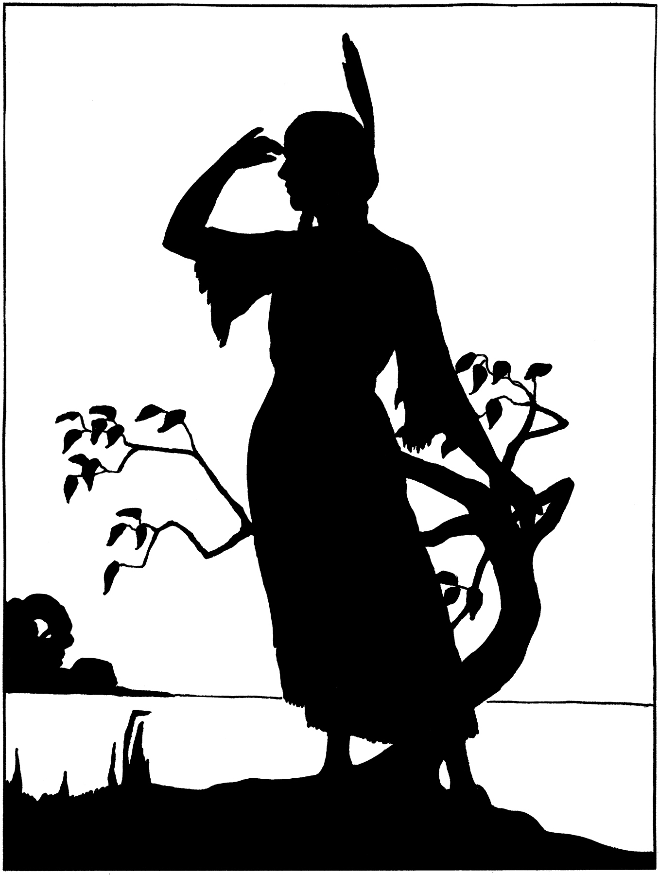 Vintage female silhouette clipart clip art library Vintage Native American Girl Image - Silhouette! - The ... clip art library