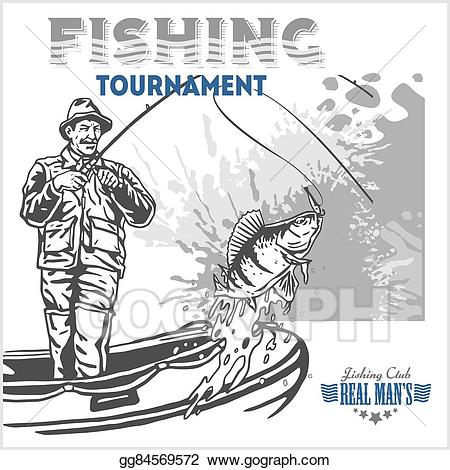 Vintage fisherman clipart png royalty free library Vector Art - Fisherman and fish - vintage illustration plus ... png royalty free library