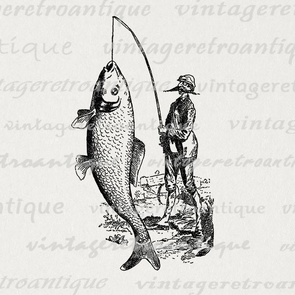 Vintage fisherman clipart free Printable graphic fisherman catching big fish image digital ... free
