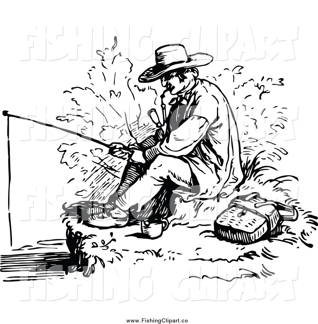 Vintage fisherman clipart picture royalty free stock Clip Art of a Vintage Black and White Man Smoking a Pipe and ... picture royalty free stock
