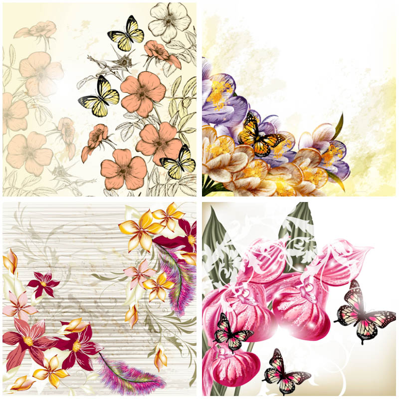 Vintage floral images free clip art free stock Vintage floral backgrounds with butterflies vector | Vector ... clip art free stock