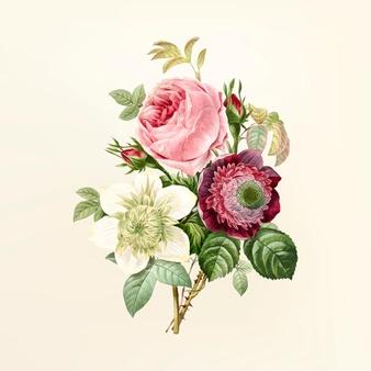 Vintage flower bouquet clipart svg royalty free Vintage flower illustration Vector   Free Download svg royalty free