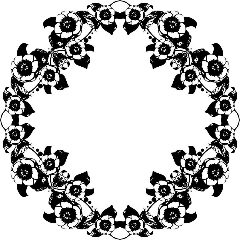 Vintage flower clipart black and white picture Clipart - Vintage Black And White Floral Design picture