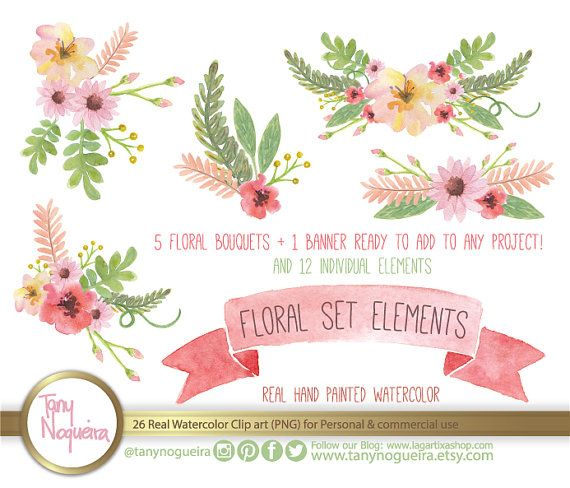 Vintage flower clipart png clip freeuse library Watercolor Floral Wedding Elements, Clipart, PNG, Vintage Flowers ... clip freeuse library