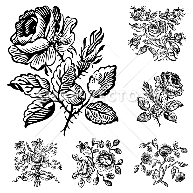 Vector clipart floral clip art black and white Vector Clipart Vintage Flower and Rose Ornaments clip art black and white