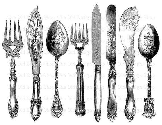 Vintage fork and spoon clipart image royalty free stock Vintage Cutlery Printable Fork Knife Spoon Clip Art ... image royalty free stock