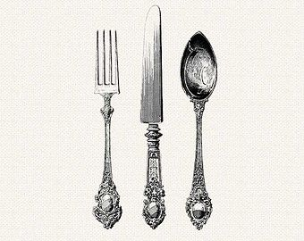 Vintage spoon and fork clipart jpg black and white stock Free Silver Spoon Cliparts, Download Free Clip Art, Free ... jpg black and white stock