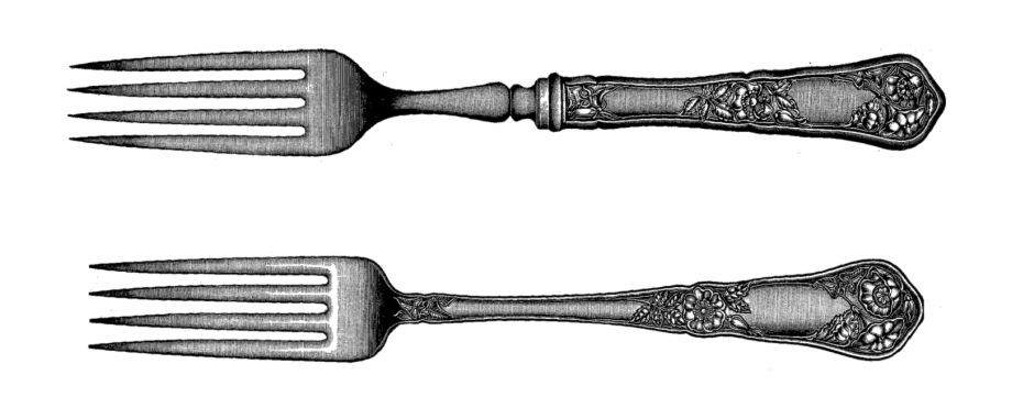 Vintage spoon and fork clipart picture black and white download I\'ve Posted Some Wonderful Vintage Forks, Spoons, And ... picture black and white download