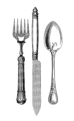 Vintage fork and spoon clipart clipart black and white stock 7 Free Fork and Spoon Clipart | DI Y not | Graphics fairy ... clipart black and white stock