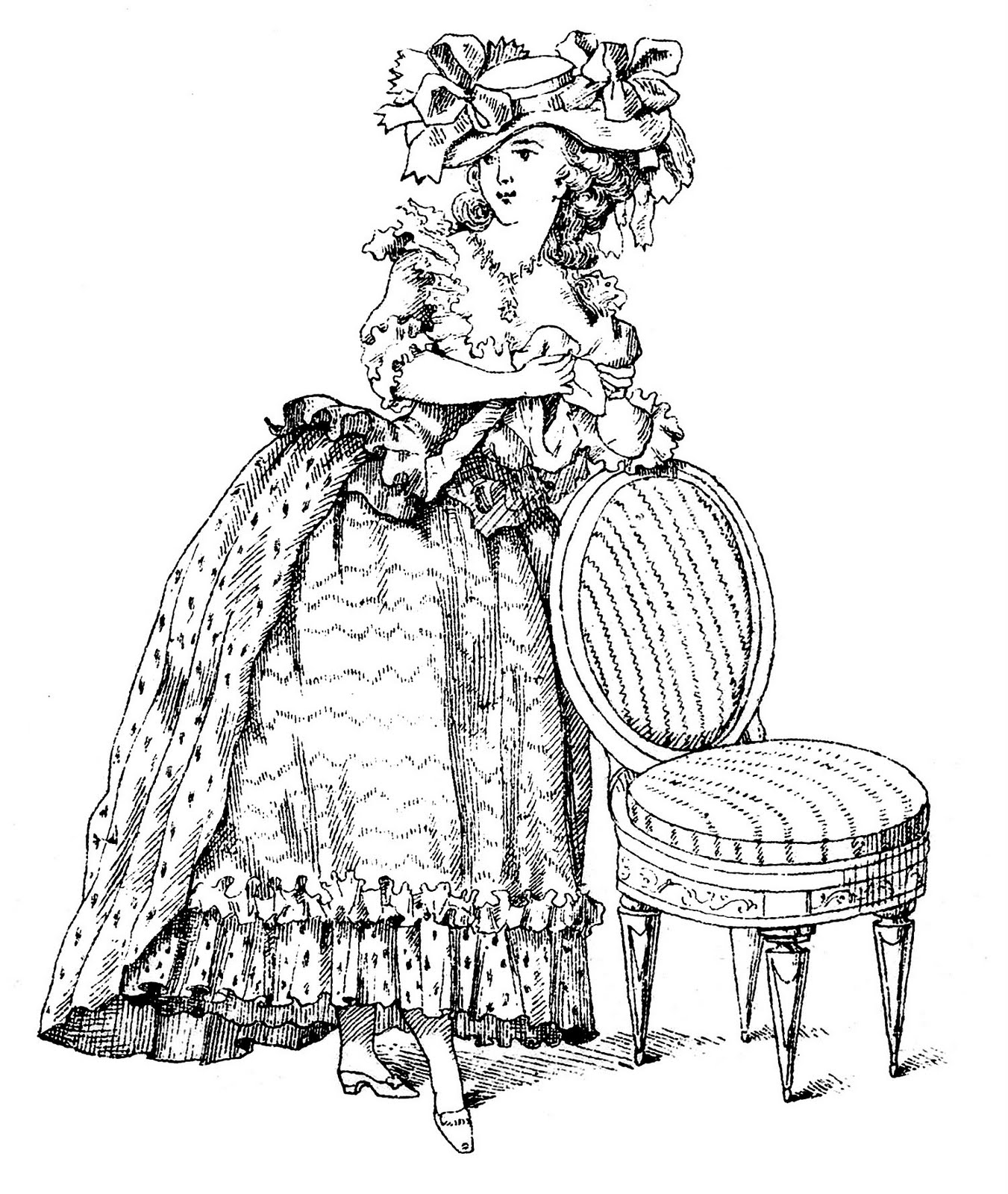 Vintage french clipart vector black and white Vintage French Clip Art - Marie Antoinette-esque Lady with ... vector black and white