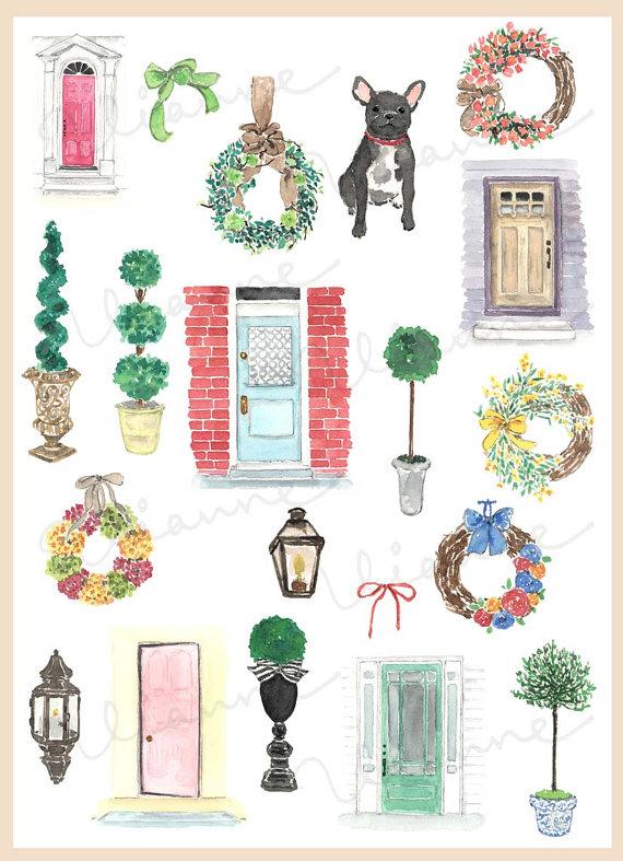 Vintage front door clipart vector free stock CLIP ART- Watercolor Vintage Front Doors Set. 20 Images ... vector free stock