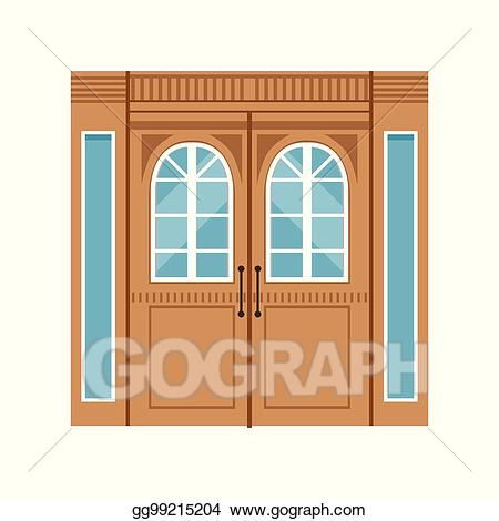 Vintage front door clipart png free library Vector Art - Vintage double wooden doors, closed elegant ... png free library