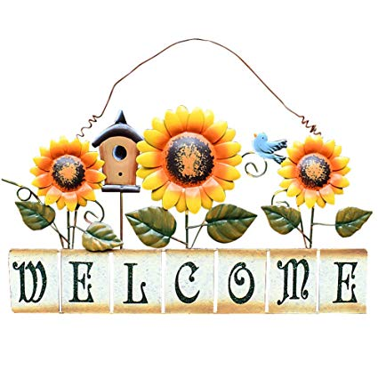 Vintage front door clipart image free library Attraction Design Vintage Sunflower Decor Welcome Sign for Front Door,  Garden Themed Welcome Door Sign Hanging Metal Welcome Wall Plaque Home  Garden ... image free library