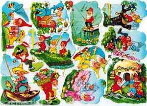 Vintage german nursery rhyme clipart image black and white download Details about GNOMES FAIRY EAS SCRAP PAPER VINTAGE OLD GERMAN NOS GARDEN  LIMITED COLLECT image black and white download