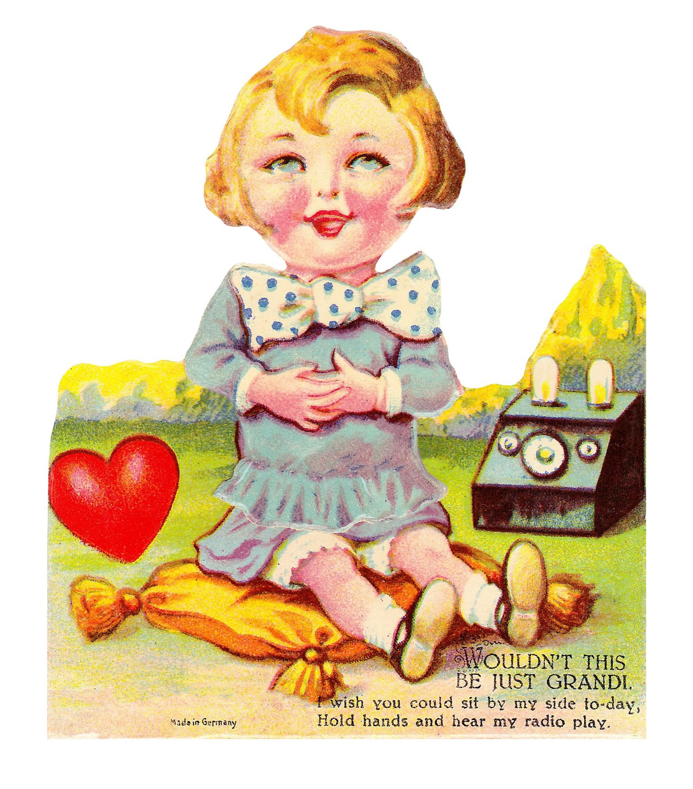 Vintage german nursery rhyme clipart banner library stock Chocolate Rabbit Graphics: Vintage German Valentine - Radio Girl banner library stock