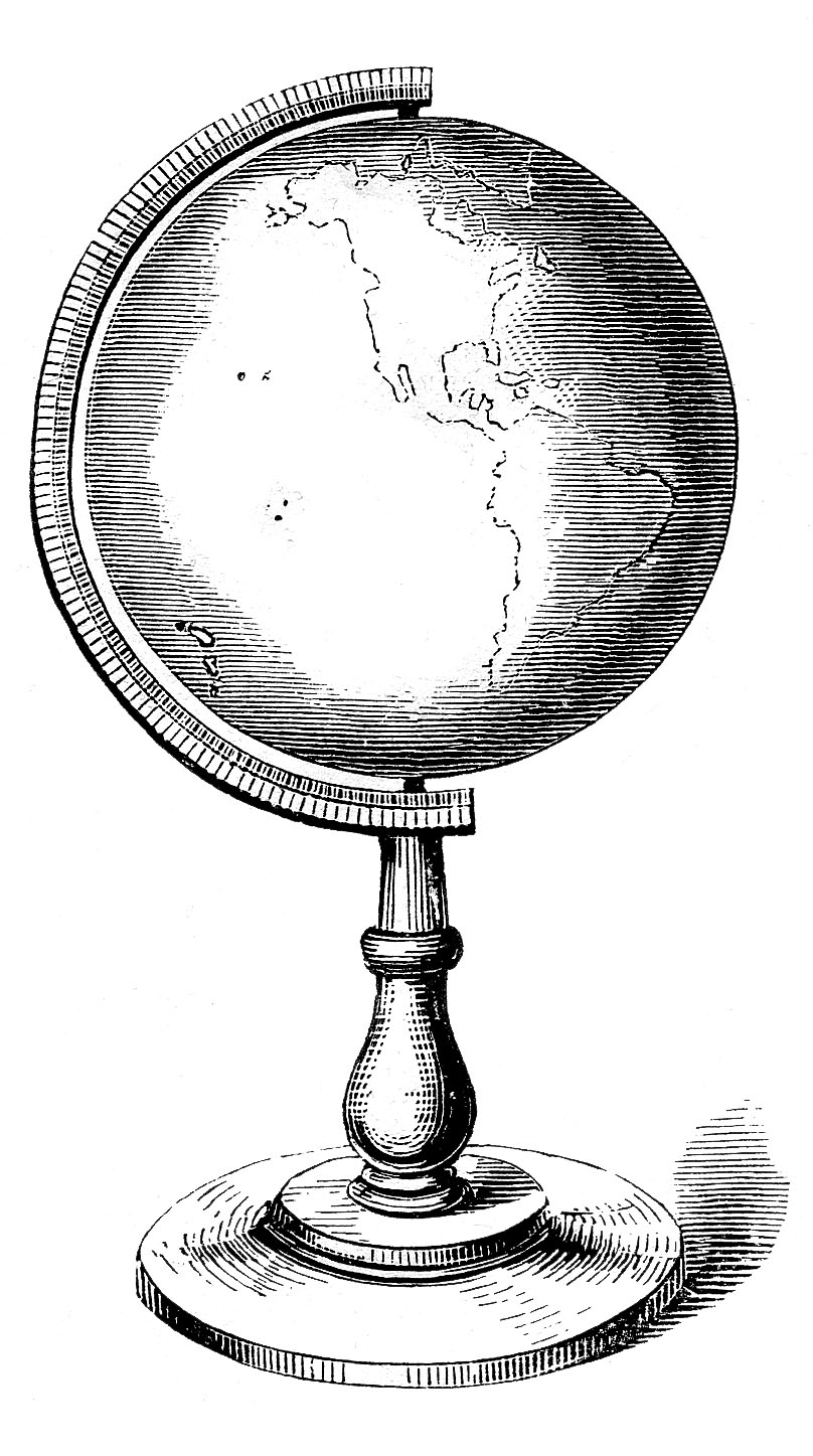 Vintage globe map black and white clipart png royalty free Vintage Clip Art - Globes, Earth - Steampunk - The Graphics ... png royalty free