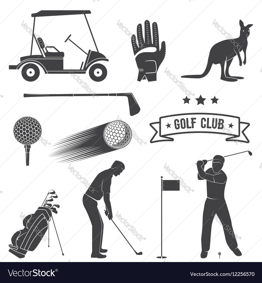 Vintage golf club clipart graphic black and white library Set of vintage golf elements and equipment graphic black and white library