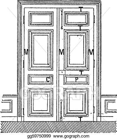 Vintage gray door clipart clipart freeuse library EPS Vector - Door with two leaves c, door, c, frame, m ... clipart freeuse library