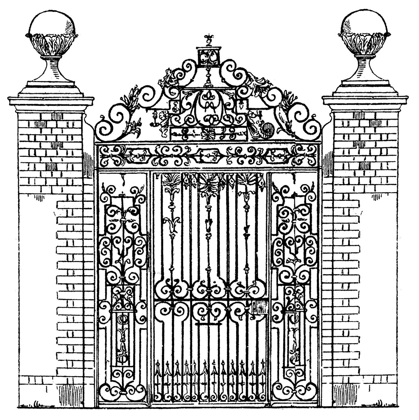 Vintage gray door clipart vector black and white stock Vintage Clip Art - Ornate Iron Gate - Scrolls | Inspiration ... vector black and white stock