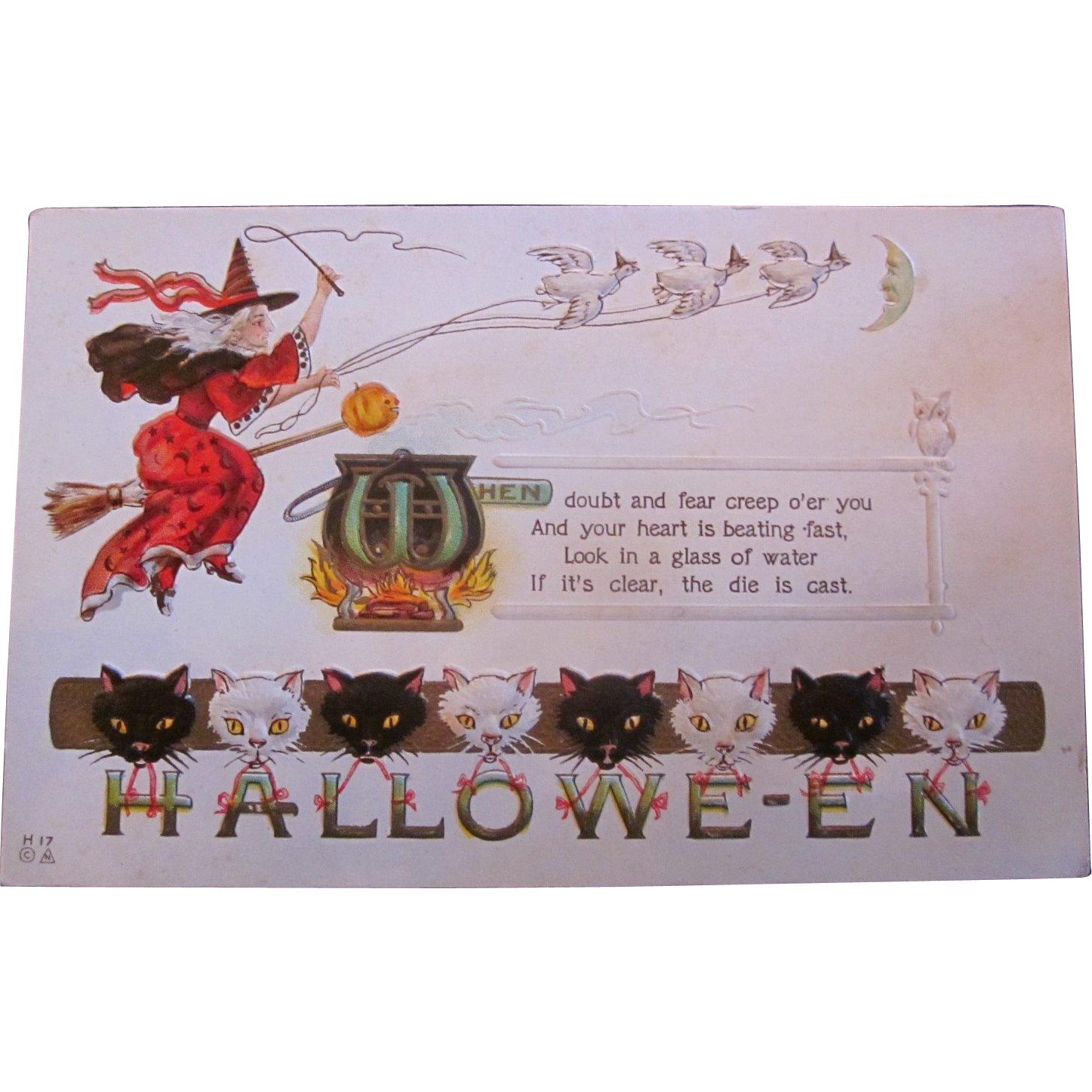 Vintage halloween clipart black and white cat banner freeuse download Vintage Nash Halloween Postcard with witch, cauldron black and white ... banner freeuse download