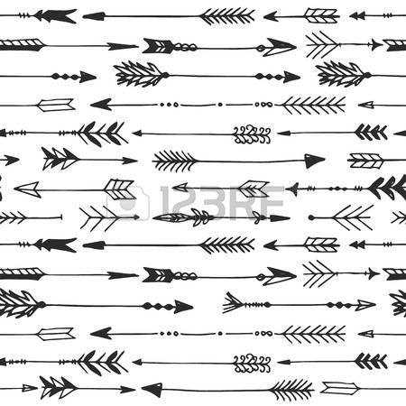 Vintage hand arrow clipart png stock Arrow rustic seamless pattern. Hand drawn vintage vector ... png stock