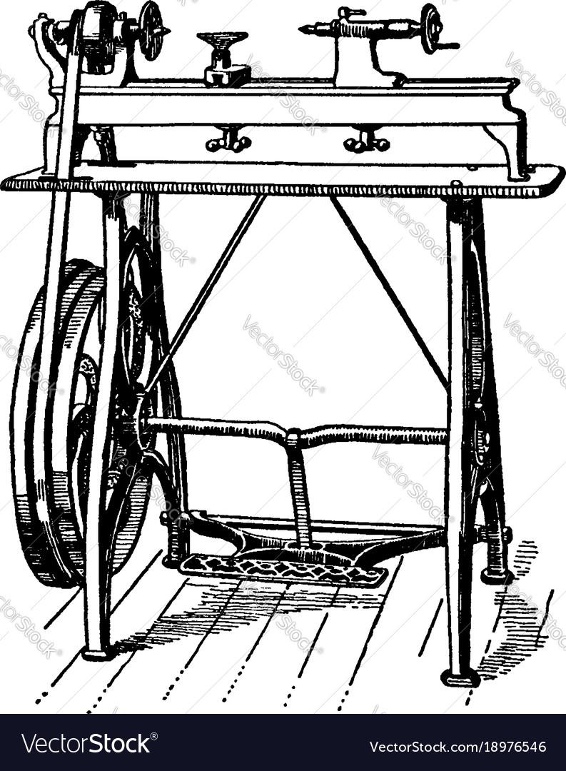 Vintage hand lathe clipart svg transparent download Foot power wood working lathe vintage svg transparent download