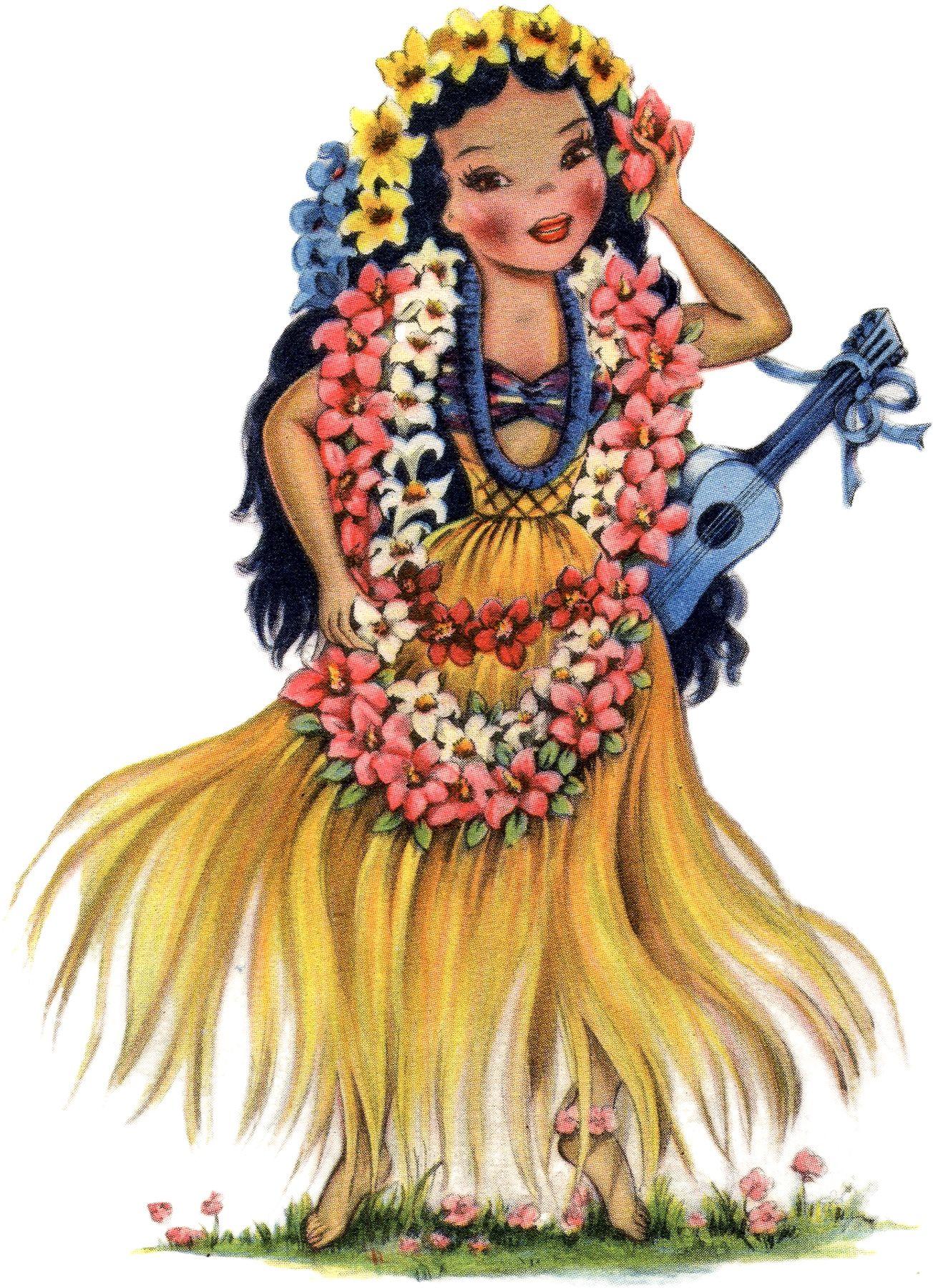 Vintage hawaiian clipart graphic freeuse library Retro Hawaiian Doll Image | Dolls of Many Lands | Vintage ... graphic freeuse library