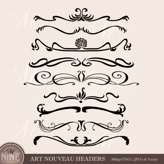 Clipart headers png free library ART NOUVEAU HEADERS Clip Art: Digital Clipart, Instant ... png free library